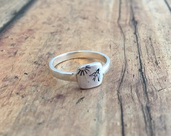 Bird and Sun Ring, Hand Stamped Sterling Silver Bird Flying Ring