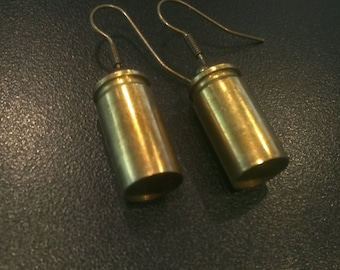 Reclaimed 9mm Brass Gun Bullet Shell Casing Earrings