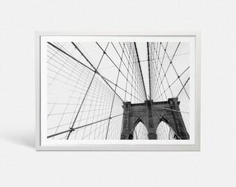Brooklyn Bridge print New York City print NYC art New York print New York art New York poster Black and white art print Brooklyn poster