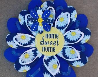 "CUTE Daisy ""Home Sweet Home"" Flip Flop Wreath Wall Door Decor Beach Ocean Unique Gift"