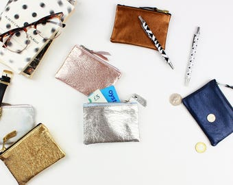 Metallic Leather Coin Pouch /Coin holder, Small zipper pouch, Gift for her, Small wallet, Coin wallet, Coin pouch, Change purse, Leather bag