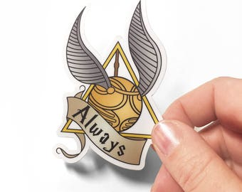 Always Golden Snitch Deathly Hallows Harry Potter Inspired Sticker