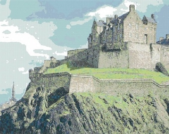 Edinburgh Castle Counted Cross Stitch Pattern - Digital Download