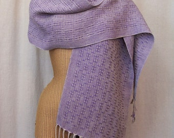 Lavender Purple Linen Lace Scarf Handwoven Table Runner LS05