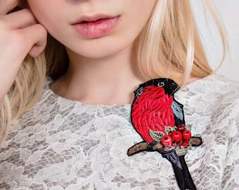 "Embroidered brooch ""Bullfinch"""