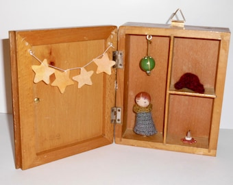 Wooden box with little doll, Waldorf inspired