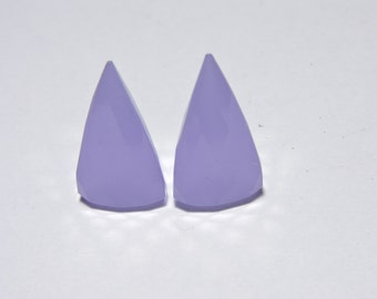 2 Pieces Beautiful Lavender Chalcedony Faceted Triangular Shaped Loose Gemstone Size 21X11 MM