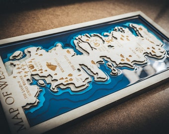 Game of Thrones wooden map resin, Wood and resin map, Map of Thrones, Wooden map Game of Thrones, Wooden 3d map, Westeros map, Handmade