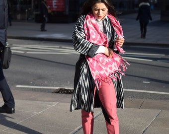 Handwoven ikat scarf, handmade central asian ikat scarf, pink scarf, gift for her, beautiful handmade scarf, unique scarf, pink shawl