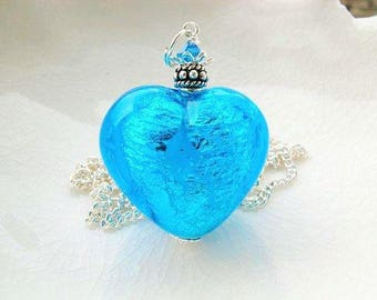 Blue Murano Heart Glass Necklace Exclusive