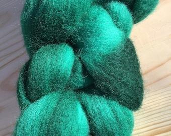 Brontosaurus Colorway: Hand Dyed Merino Wool Roving, 4 oz