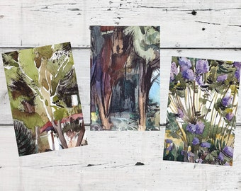 Set of art postcards, 3 blank postcards, watercolor prints, green and purple art postcards, aquarelle, nature lover gift, original artwork