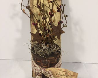 Welcome primitive country basket wall hanging