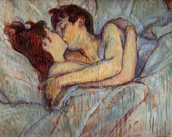 """In Bed: The Kiss by Henri de Toulouse Latrec, 8""""x10.75"""", Giclee Canvas Print"""