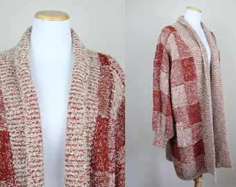 Burnt Orange Sweater Duster + XL + Vintage 80s 90s Ochre and Tan Checkered Sweater + Long Oversized Baggy Sweater Jacket + Open Front +
