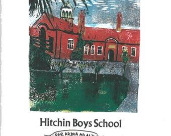 Hitchin Boys School: Lino and Letterpress Print