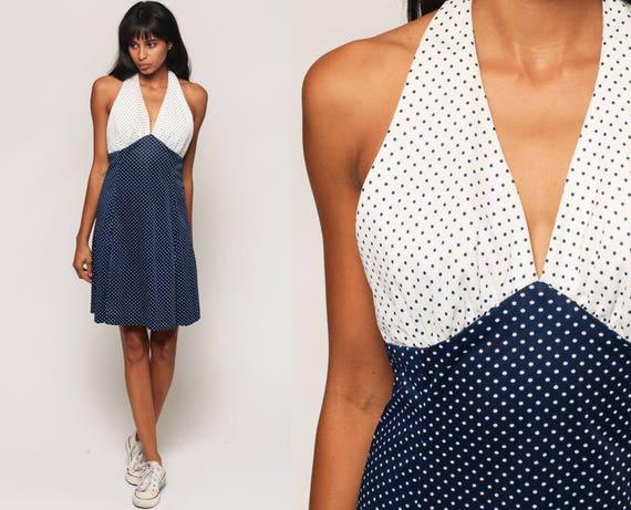 Halter Dress 70s Mini Dress POLKA DOT Babydoll Sun Empire Waist Boho Hippie Summer Sundress Vintage 1970s V Neck Blue White Small