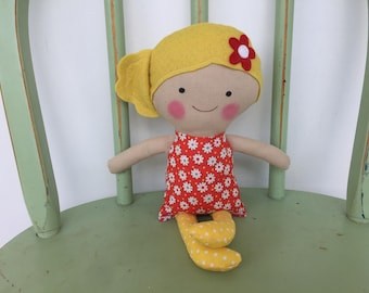 Handmade rag doll perfect size for small hands.