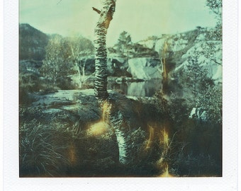 Norway, Old Polaroids, SX70, Polaroid Photography, Lake, Rocks, Vintage, Birch, Mountains, Trees, SX 70, Original, Landscape, Rocky, Calming