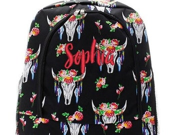 Monogrammed Backpack Personalized Floral Steer Head Backpack Personalized Backpack Kids Backpack Girls Backpack Boys Backpack