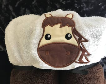Horse hooded towel for infant/this toddler/young child