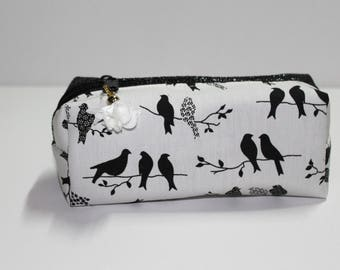 Kit leatherette black birds on wire