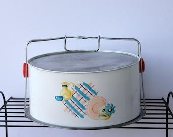 Cake Pie Carrier, Vintage Dish Design, Plaid Cake Saver, Metal Cake Safe, Peoria Cover Dome, Red Plastic Handles