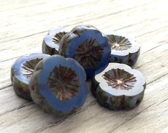 Czech glass flower beads, Hawaiian flowers, blue picasso 15mm pack of 6