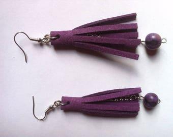 """Earrings """"tassels"""" Purple suede"""