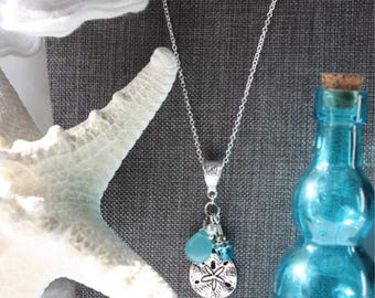Sand Dollar and Sea Glass silver charm necklace