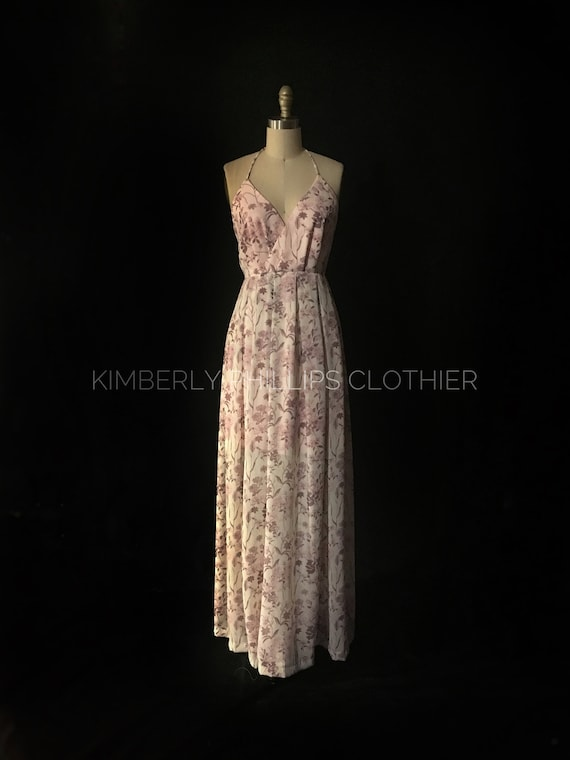 Maxi Dress, Floral Bridesmaid Dress, Spaghetti Strap, Prom Dress, Made to Order- Kimberly Phillips- kphillipsclothier