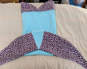 Mint and purple Small child MermailTail Blanket