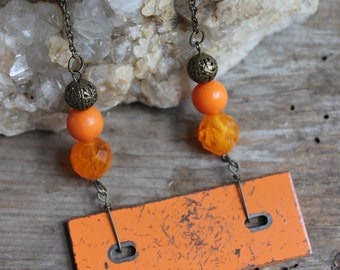 Orange Xylophone Necklace, Funky Necklace, Found Object Jewelry, Metal Jewelry, Jewelry for Musicians, Music Necklace, Unique Jewelry