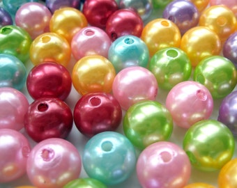 20 Pcs - Faux Pearl Beads in Assorted Colors -  12mm Diameter