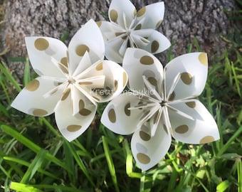 3 Gold Polka Dot Paper Flowers with Stems // Origami Flower/Kusudama Flower Bouquet/ Flower Arrangement/ Baby Shower/ Nursery/ Centerpiece