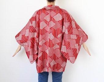 red Kanoko kimono, EXCELLENT VINTAGE, haori, short kimono /3352