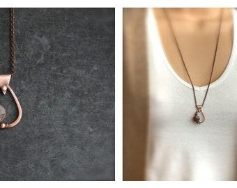 Enamel Teardrop Pendant Necklace - Vitreous Glass Enamel, Oxidized Copper, Rust Brown, Dark Grey, Wire Wrapped Metalwork, Boho Jewellery