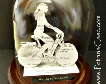 Girl on Bike Bicyclist Business Card Sculpture Cyclist -NO 1102N -Guy 1536 Any Theme, Sport or Profession