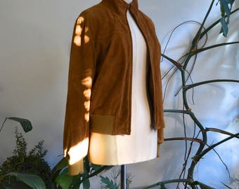 100% Real Suede Brown Zip Jacket, size Small