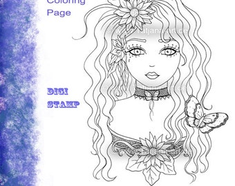 Flowerpower - Fantasy Coloring Sheet Digi Stamp Adult Coloring Girl. Instant Download!