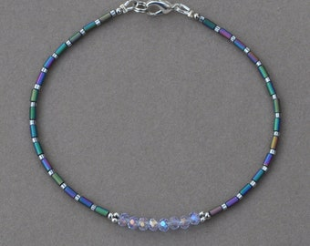 Rainbow Crystal and Hematite Anklet