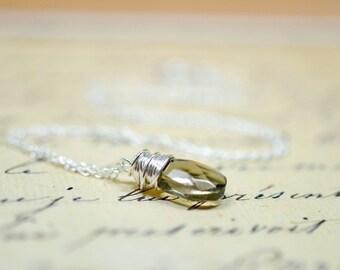 Smoky Gray Briolette Necklace, Glass Drop Black Diamond Crystal, Simple Wire Wrap, Minimalist Neutral Gray Jewelry