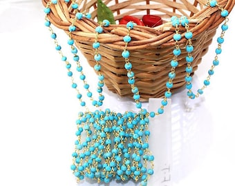 Natural Sleeping Beauty Turquoise Gold Plated Rosary Chain Wholesale- 3.5 mm Chains for Jewelry Making 10,20,50 feet Roll Bulk Free Shipping