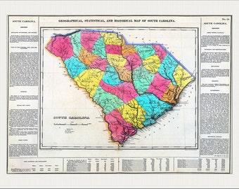 SOUTH CAROLINA Map, Map of South Carolina, South Carolina, Charleston, USA Map, Vintage Map,  Historic Map 1822