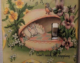 Bunny - Sleeping - Napping -Easter egg-Nursery light switch cover -Vintage- Home decor - Blue Bird Singing -lighting - lights - switch