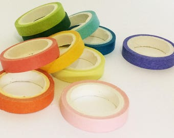 Washi tape set 10 thin washi tape rainbow colours, Christmas party decorations baby shower gift DIY paper craft scrapbooking adhesive tape