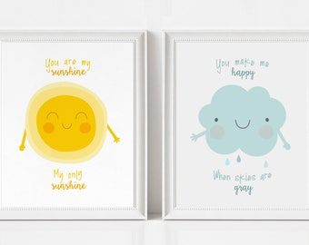 You Are My Sunshine Wall Art Prints - Set of Two - Nursery Prints Baby Boy, Baby Girl - Baby Shower Gift - Kids Room Decor -Nursery Wall Art