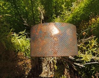 Rustic Multicolor Fabric Look Etched Copper Cuff Bracelet