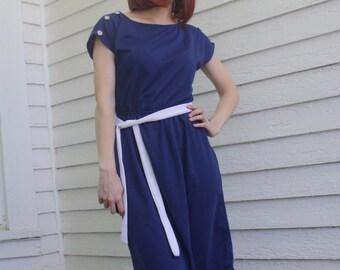 80s Dark Blue Dress Vintage Retro Casual Shoulder Buttons S