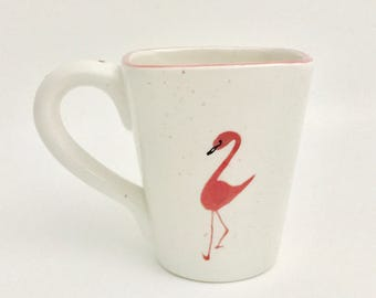 Flamingo Mugs, Flamingo.Coffee, 12 oz, Handmade By Sara Hunter